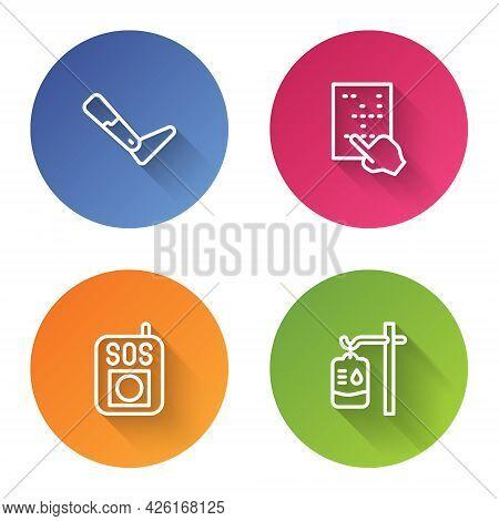 Set Line Prosthesis Leg, Braille, Press Sos Button And Iv Bag. Color Circle Button. Vector
