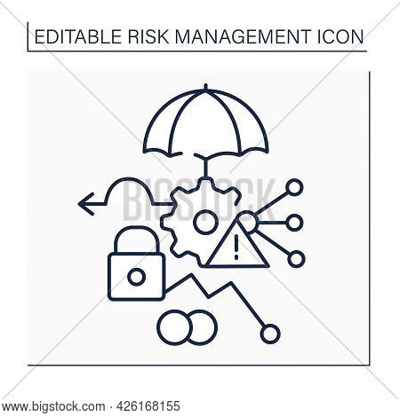 Risk Management Methods Line Icon. Treating Risks. Avoidance, Retention, Sharing, Transferring, And
