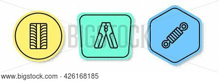 Set Line Car Tire Wheel, Battery Jumper Power Cable And Shock Absorber. Colored Shapes. Vector