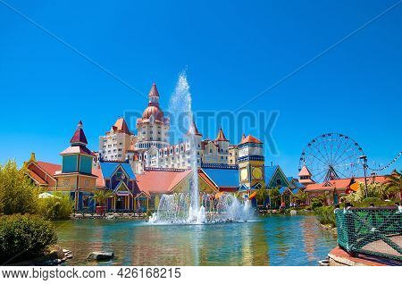 Sochi, Russia - June 1 , 2021: Sochi Theme Park With Attractions. Krasnodar Territory