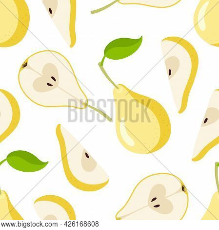Pear Seamless Pattern. Yellow Pear Fruit With Leaf, Whole, Cut, Segment Icons. Flat Vector Illustrat
