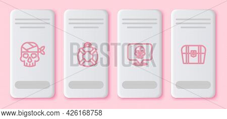 Set Line Pirate Captain, Lifebuoy, Skull And Antique Treasure Chest. White Rectangle Button. Vector