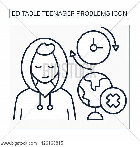 Skipping School Line Icon. Protest Against School System, Subjects. Reluctance Getting Skills.self-e