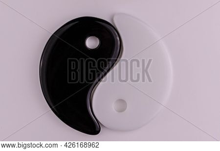 Japanese Symbol Of Masculine And Feminine Beginning Yin Yang On A White Background.