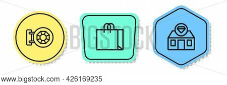 Set Line Jewelry Store, Shopping Bag Jewelry And . Colored Shapes. Vector