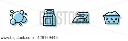 Set Line Electric Iron, Soap Water Bubbles, Laundry Detergent And Basin With Soap Suds Icon. Vector