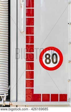 Speed Limit Sticker Eighty Miles Per Hour At Trailer