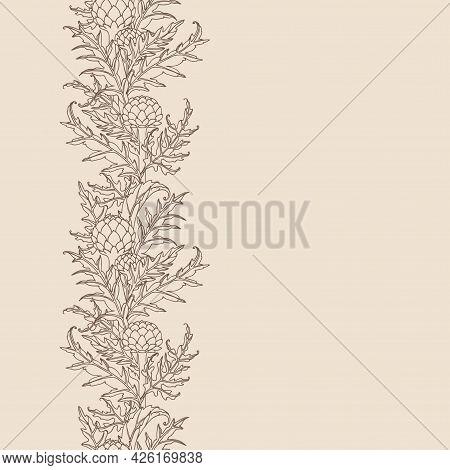 Vertical Seamless Pattern, Artichoke Buds With Leaves, Menu Decoration, For Frame Or Border, Color V