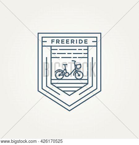 Free Ride Bicycle Minimalist Line Art Badge Icon Logo Template Vector Illustration Design. Simple Mo