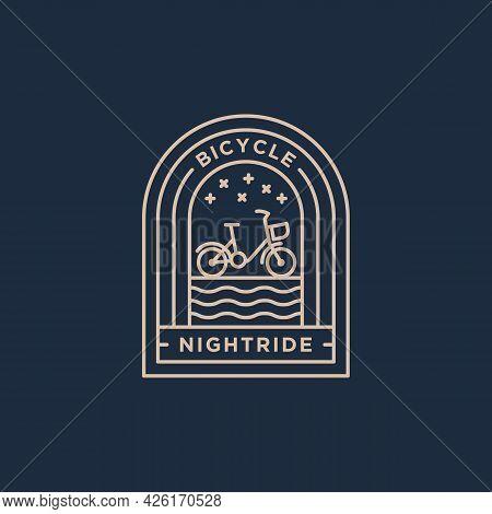 Night Ride Bicycle Minimalist Line Art Badge Icon Logo Template Vector Illustration Design. Simple M