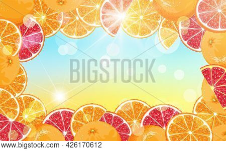 Fruit Summer Background With Sunbeams, Bokeh Effect And Oranges. Illustration Of Slices Of Red And O