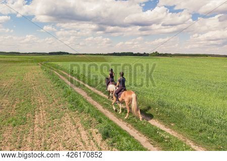 Two Horse Riders On A Palomino Horse And A Dark Bay Horse Moving Across The Beautiful Farm Field Dur