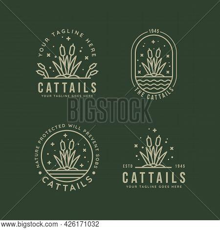 Set Of Cattails Reeds Minimalist Line Art Badge Logo Icon Template Vector Illustration Design. Simpl