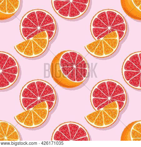 Red And Orange Parts Seamless Pattern. Whole, Half, Slice And Wedge Of Sicilian Orange. Cartoon Styl