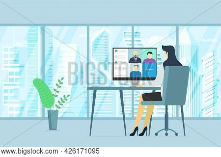 Woman In Office And People Group On Pc Monitor Taking Part Online Conference. Virtual Work Meeting A