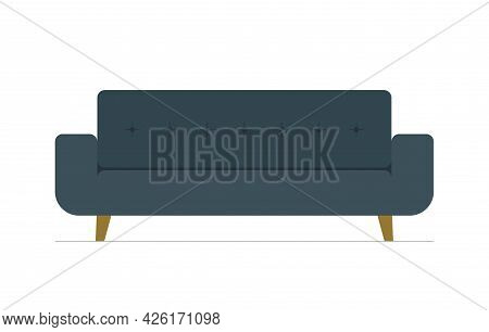 Luxury Sofa For Modern Office, Living Room Or Lounge. Cozy Couch Icon On White Background. Isolated
