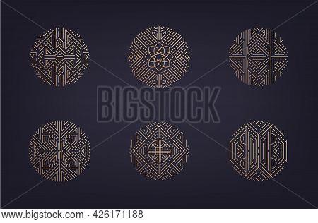 Vector Set Of Art Deco Linear Circles, Linear Round Symbols, Decorative Design Templates, Monogram L