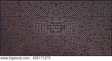 Vector Abstract Geometric Golden Background. Art Deco Wedding, Party Pattern, Geometric Ornament, Li