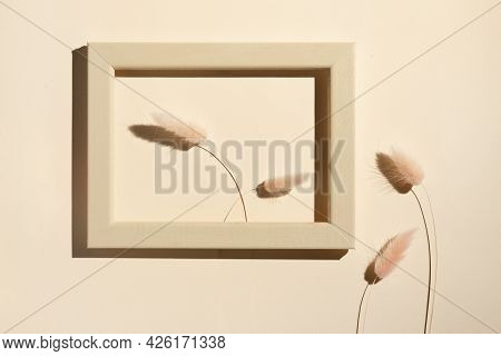 Stalks Of Wheat Or An Ornamental Plant In A Frame, A Minimalistic Art Object Still Life On The Wall.