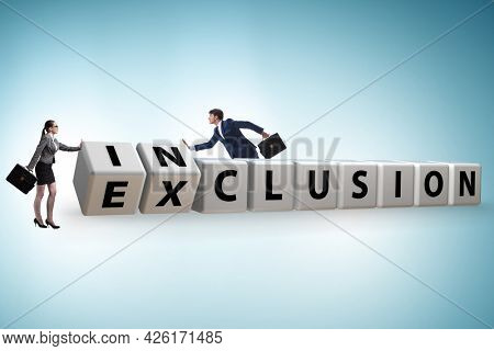 Business people turning cubes in inclusion and exclusion concept