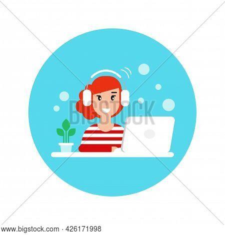 Cute Freelancer Girl On Computer With Earphones. Flat Vector Cartoon Illustration In Blue Circle. Pe