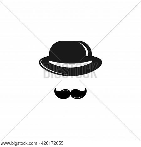 Gentleman Icon Isolated On White Background. Silhouette Of Man's Head With Big Moustache And Bowler