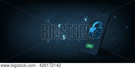 Mobile Financial Transactions Security Concept.smartphone With Padlock Lock On Dark Blue Background.