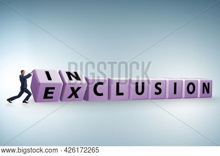 Businessman turning cubes in inclusion and exclusion concept