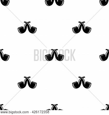 Seamless Pattern With Crossed Smoking Pipes On White Background. Black Vintage Ornament. Hipster, Pi