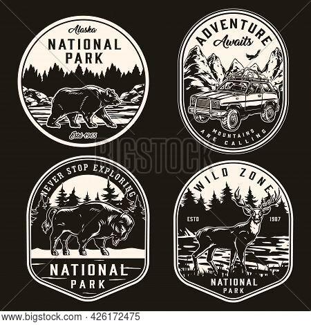 National Park Vintage Monochrome Prints With Travel Car Flying Birds Bear Bison Deer On Nature Lands