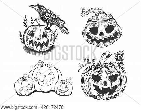 Halloween Decoration Jack O Lantern Set Line Art Sketch Engraving Vector Illustration. T-shirt Appar