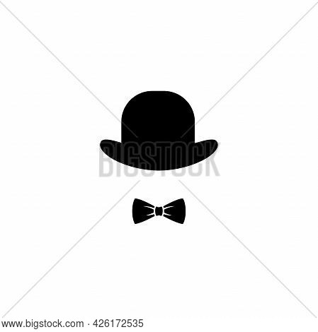 Gentleman Icon Isolated On White Background. Silhouette Of Man's Head With Hat An Bow Tie. Black Sim