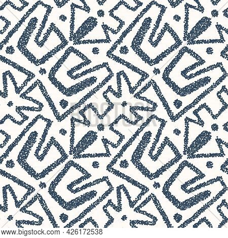 Black And White Seamless Pattern With Arabesques  In A Retro Style. Vector Illustration