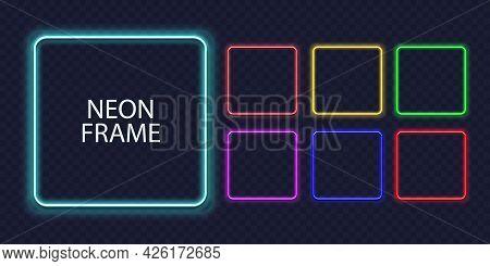 Square Neon Frames. Fluorescent Outline Border. Realistic Led Shape