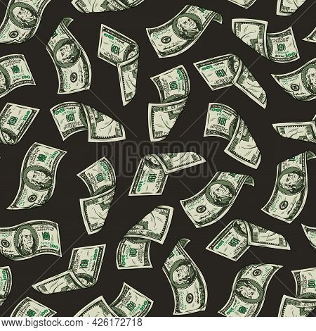 Money Vintage Seamless Pattern With Falling One Hundred Us Dollar Bills On Dark Background Vector Il