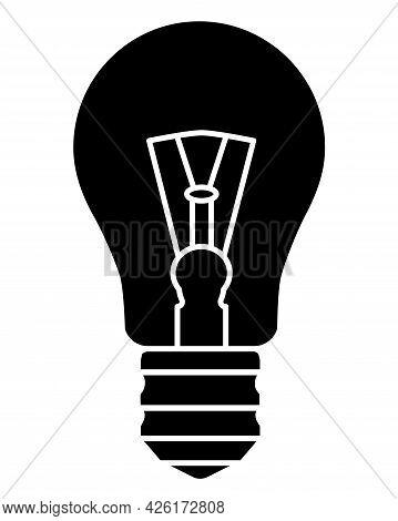 Light Bulb. Incandescent Light Bulb - Vector Silhouette Illustration For Logo Or Pictogram. A Vintag
