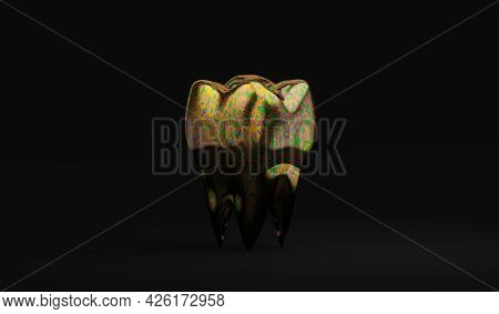 Unusual Color Molar Tooth On Black Background, Dirty Tooth Concept, Bacterial Plaque, 3d Illustratio