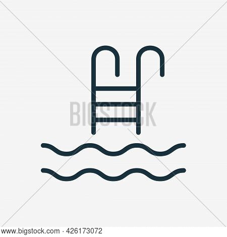 Swimming Pool Linear Icon. Ladder Or Stairs For Swim Pool Line Icon. Summer Vacation And Activity Re