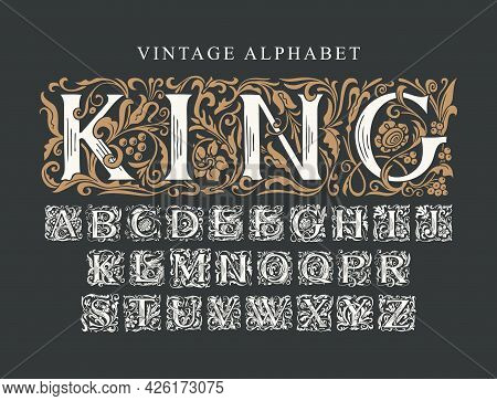 The Word King. Luxury Design Of Ornate Royal Typeface For Monogram, Card, Invitation, Logo, Label, S