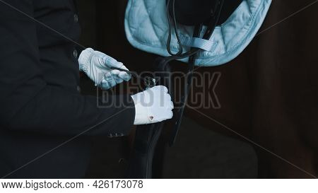 Horse Rider Saddling Up The Horse For A Ride. Tying Up The Leather Strap Of The Horse Saddle. A Sadd