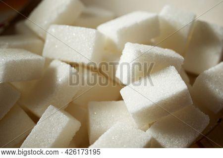 Sugar cubes in a carton box