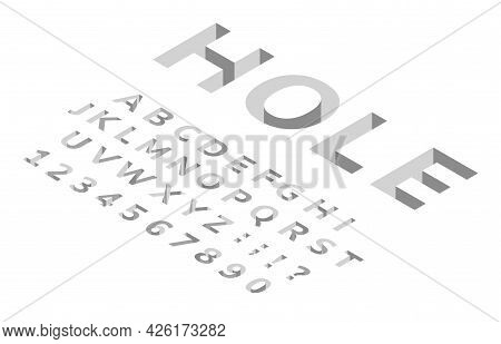 Isometric Hole Font. 3d Perspective Alphabet, Modern Geometric Cubic Typeface. Deep Holes In Floor E