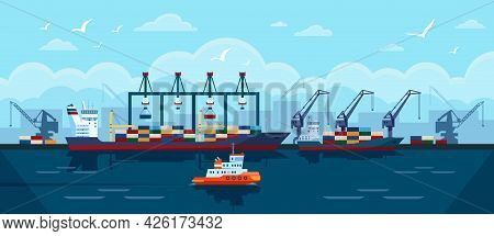 Cargo Ship In Seaport. Industrial Freight Vessel With Shipping Containers Docked At Port. Sea Transp