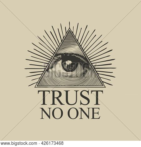 Vector Icon Of The Masonic Symbol Of The All-seeing Eye Of God. The Eye Of Providence In The Triangl