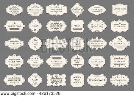 Retro Frames. Vintage Decorative Labels With Floral Ornaments. Elegant Luxury Tag Frame With Text An