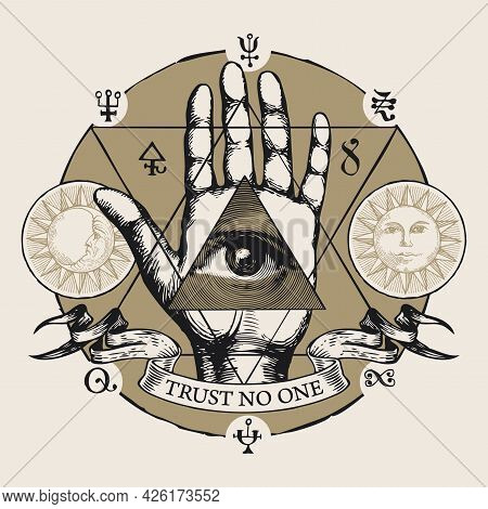 Hand-drawn Vector Illustration With All Seeing Eye Of God On An Open Palm. Human Hand With Eye Of Pr