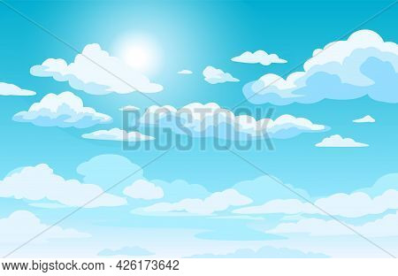 Blue Sky With Clouds. Anime Style Background With Shining Sun And White Fluffy Clouds. Sunny Day Sky