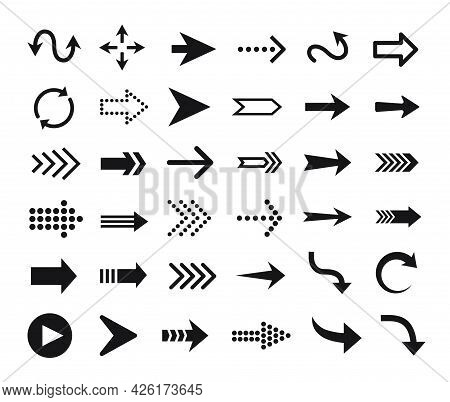 Arrow Icon. Arrows Pictograms, Buttons, Web Cursors, Pointers. Up, Down, Right, Left Direction Signs