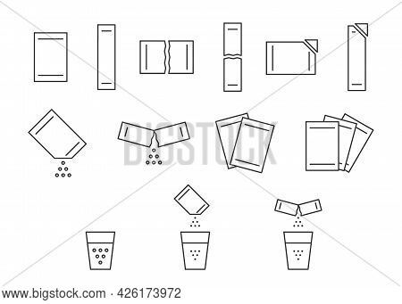 Sachet Packet Soluble Powder Line Icon Set. Open Paper Pack Stick With Powder. Soluble Bag Medicatio