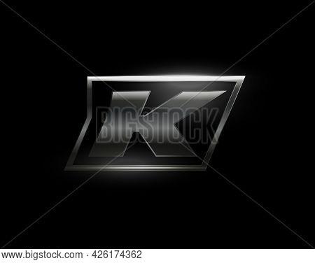 Carbon Speed Letter K Logo, Dark Matte Metal Carbon Texture. Drive Dynamic Steel Letter, Turbo Bold